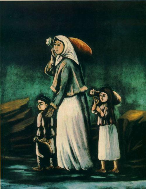წყალზე მიმავალი ბავშვებიანი ქალი