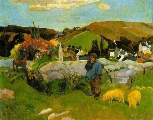 პეიზაჟი ღორების მწყემსთან, ბრეტანი, პოლ გოგენი, 1888