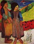 1889, Breton Girls by the Sea, გოგონები ბრეტანიდან. პოლ გოგენი. Paul Gauguin