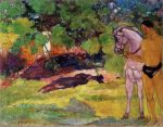 1891, ვანილის ჭალაში, კაცი ცხენით. პოლ გოგენი. Paul Gauguin