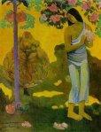 1899, ქალი ყვავილებით ხელში, te Avae No Maria (მარიას თვე ). პოლ გოგენი. Paul Gauguin