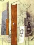 Guitar, Gas-Jet and Bottle. 1913. Pablo Picasso