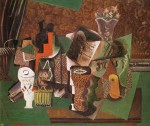 1914-5, Still Life with Cards, Glasses and a Bottle of Rum- 'Vive la France', Pablo Picasso