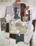 ხილი, ბოთლი და ვიოლინო - Fruit Dish, Bottle and Violin. 1914. Pablo Picasso