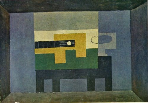 Guitare et cruche sur une table. 1918, Pablo Picasso