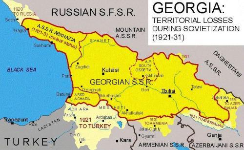 საქართველოს რუქა - 1921-31 წლები