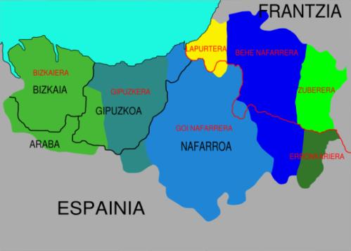 Dialectos_Euskara ბასკები რუქა