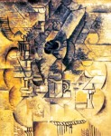 Gueridon, verres, tasses, mandoline. Spring 1911, Pablo Picasso