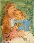 Mere et enfant. Summer 1922. Picasso 100 x 80 cm. Oil on can