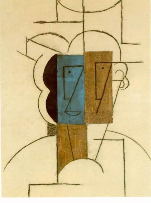 Tete d'homme au chapeau. December 1912. Pablo Picasso