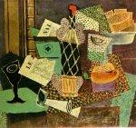 Verre et bouteille de rhum paillee. 1914. Pablo Picasso