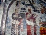 თამარ მეფე და მეფე გიორგი მესამე, ვარძია. ღმრთისმშობლის მიძინების ეკლესია, ჩრდილოეთი კედელი