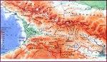საქართველოს ფიზიკური რუკა - Physical Map of Georgia