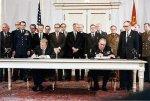 President Jimmy Carter and Soviet General Secretary Leonid Brezhnev sign the Strategic Arms Limitation Talks (SALT II) treaty, 16 June 1979, in Washington D.C. Zbigniew Brzezinski is directly
