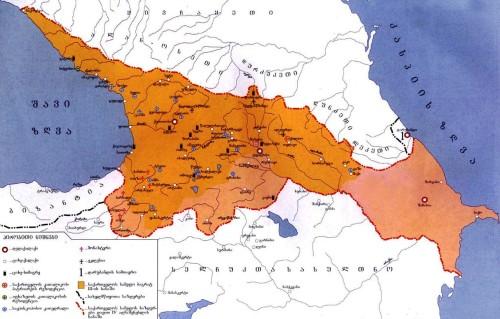საქართველოს რუქა 1073-1125 წწ. დავით აღმაშენებლის პერიოდი