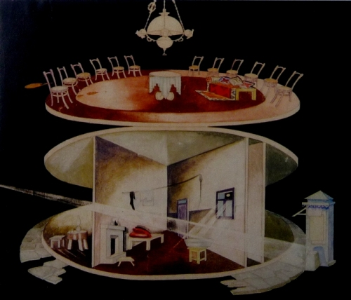 პეტრე ოცხელი, გ. ბააზოვი, მუნჯები ალაპარაკდნენ, დეკორაცია, სახელმწიფო დრამის თეატრი, კ. მარანიშვილის ხელმძღვანელობით, 1932 წ.