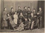 (left to right standing) Pauline, Anna, unidentified girl, Sigmund, possibly Rosa's fiancé, Rosa, Marie, and Simon Nathanson [Amalia's cousin]; (sitting) Adolfine, Amalia, unidentified boy, Alexander, and Jacob. Vienna,   1878