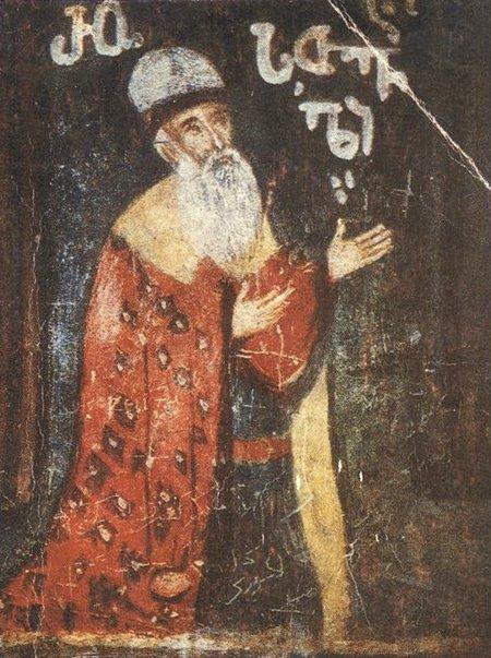 შოთა რუსთაველი. იერუსალიმის ჯვრის მონასტრის ფრესკა