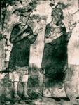 ფრესკა დახატულია ბორჯომის რაიონის სოფელ ქვაბისხევის ეკლესიაში. ქართველ მეცნიერთა აზრით; ახალგაზრდა ფეოდალი შოთა, შესაძლოა, რუსთაველი გამოსახულია დედამის იასთან ერთდ