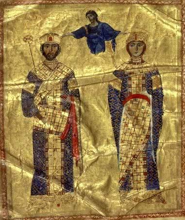 ბიზანტიის იმპერატორი ნიკიფორე ბოტანაიტესი და დედოფალი მარიამ ბაგრატიონი(დავით აღმაშენებელის მამიდა)