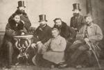 პეტერბურგის უნივერსიტეტის სტუდენტები, 1861 წ. დგანან (მარცხნიდან) ალექსანდრე (კოხტა) აფხაზი, მიხეილ ჩიკვაიძე, სხედან ლუარსაბ (შაქრო) მაღალაშვილი, ილია ჭავჭავაძე, ნიკოლოზ ალექსი მესხიშვილი, გიორგი ყაზბეგი, წინ - ბელოი