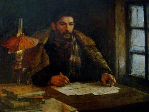 ი.ბ. სტალინი სოფელ ნოვაია უდაში, გადასახლების დროს მხატვარი ვ. ა. სეროვი.