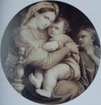 მე-19-ე საუკუნის იტალიური გრავიურა. რაფაელო სანტის მადონა დელა სედიას მიხედვით