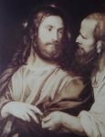 მე-19-ე საუკუნის ფრანგული გრავიურა ტიციანის ქრისტე და ფარისეველის მიხედვით