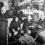 რუსთაველის სახელმწიფო პრემიის პირველი ლაურეატები – ლადო გუდიაშვილი, ელგუჯა ამაშუკელი, კონსტანტინე გამსახურდია, ირაკლი აბაშიძე, 1965 წ