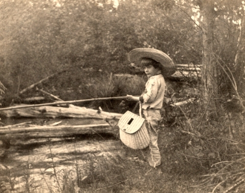 Ernest Hemingway fishing in Horton's Creek, near Walloon Lake, Michigan, July 1904