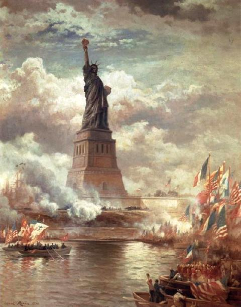 Edward Moran's 1886 painting, The Statue of Liberty Enlightening the World..