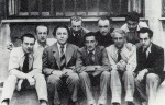 The surrealist group in Paris, circa 1930. From left to right Tristan Tzara, Paul Éluard, Andre Breton, Hans Arp, Salvador Dali, Yves Tanguy, Max Ernst, Rene Crevel, Man Ray