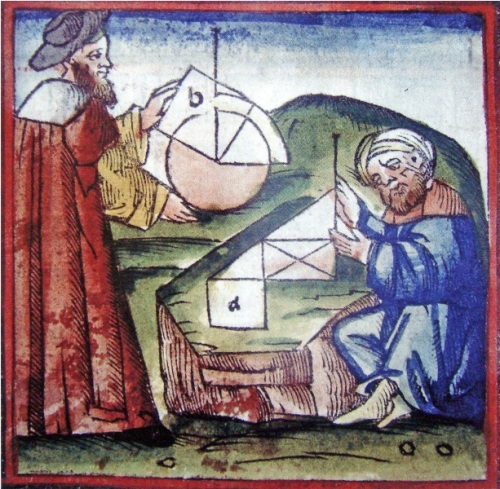 Westerner and Arab practicing geometry_15th_century_manuscript